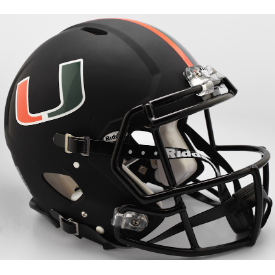 Miami Hurricanes Nights Alt Riddell Speed Authentic Full Size Football Helmet