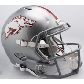 Arkansas Razorbacks Silver w/Gray Mask Riddell Speed Replica Full Size Football Helmet