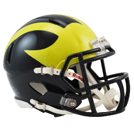 Michigan Wolverines Painted Wings Riddell Speed Mini Football Helmet