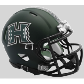 Hawaii Warriors Matte Green Riddell Speed Mini Football Helmet
