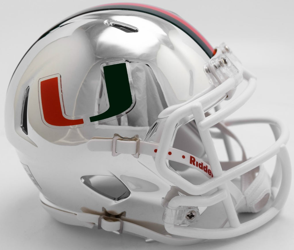 Miami Hurricanes CHROME Riddell Speed Mini Football Helmet