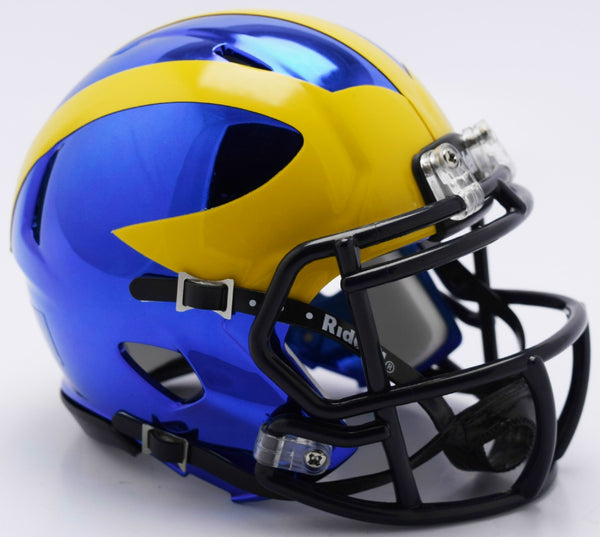 Michigan Wolverines CHROME Riddell Speed Mini Football Helmet