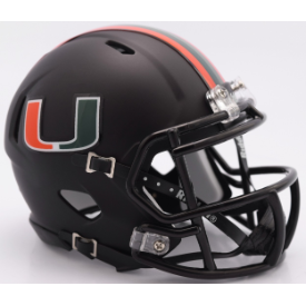 Miami Hurricanes Nights Alt Riddell Speed Mini Football Helmet