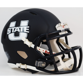 Utah State Aggies Matte Navy Riddell Speed Mini Football Helmet