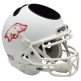 Arkansas Razorbacks Matte White Schutt Mini Football Helmet Desk Caddy