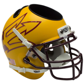 Arizona State Sun Devils Matte Gold Lg Pitchfork Schutt Mini Football Helmet Desk Caddy