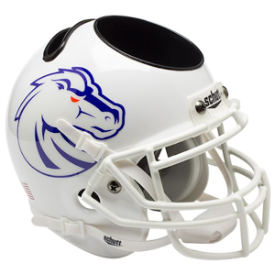 Boise State Broncos White Schutt Mini Football Helmet Desk Caddy