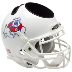 Fresno State Bulldogs White Schutt Mini Football Helmet Desk Caddy