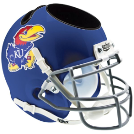 Kansas Jayhawks Schutt Mini Football Helmet Desk Caddy