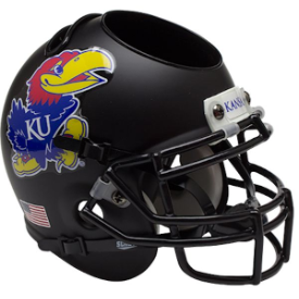 Kansas Jayhawks Matte Black Schutt Mini Football Helmet Desk Caddy