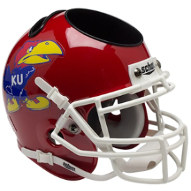 Kansas Jayhawks Scarlet Schutt Mini Football Helmet Desk Caddy