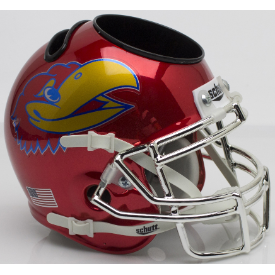 Kansas Jayhawks Scarlet Chrome Schutt Mini Football Helmet Desk Caddy