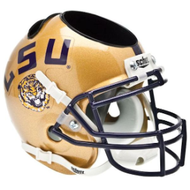 LSU Tigers Gold Schutt Mini Football Helmet Desk Caddy