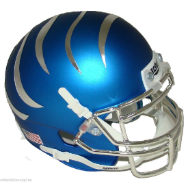 Memphis Tigers Blue w/Chrome Stripes Schutt Mini Football Helmet Desk Caddy