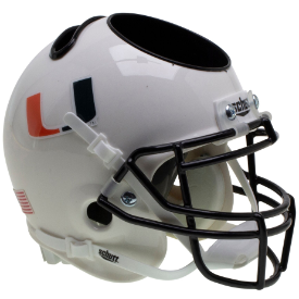 Miami Hurricanes White Schutt Mini Football Helmet Desk Caddy