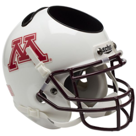Minnesota Golden Gophers White Schutt Mini Football Helmet Desk Caddy