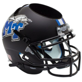 Middle Tennessee State Blue Raiders Matte Black Schutt Mini Football Helmet Desk Caddy