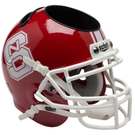 North Carolina State Wolfpack Red Schutt Mini Football Helmet Desk Caddy