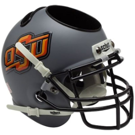 Oklahoma State Cowboys Matte Gray Schutt Mini Football Helmet Desk Caddy