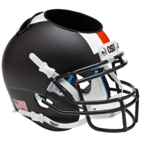 Oregon State Beavers Black w/Stripes Schutt Mini Football Helmet Desk Caddy