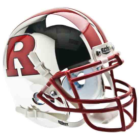 Rutgers Scarlet Knights Chrome Red R Red Stripes Mini Football Helmet Desk Caddy