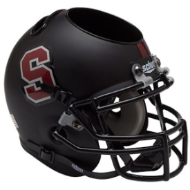 Stanford Cardinal Matte Black Schutt Mini Football Helmet Desk Caddy