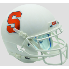 Syracuse Orangemen White Schutt Mini Football Helmet Desk Caddy