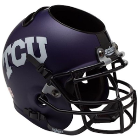 Texas Christian Horned Frogs Matte Purple Schutt Mini Football Helmet Desk Caddy