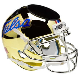 Tulsa Golden Hurricane Chrome Schutt Mini Football Helmet Desk Caddy