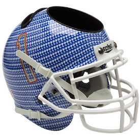 Tulsa Golden Hurricane Carbon Fiber Schutt Mini Football Helmet Desk Caddy