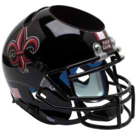 Louisiana Lafayette Ragin Cajuns Black w/Fleur De Lis Schutt Mini Football Helmet Desk Caddy