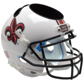 Louisiana Lafayette Ragin Cajuns White w/Fleur De Lis Schutt Mini Football Helmet Desk Caddy