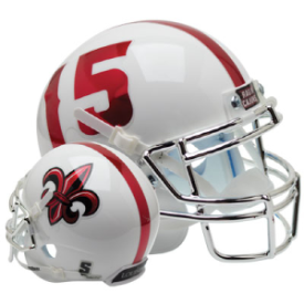 Louisiana Lafayette Ragin Cajuns White Chrome Mask Schutt Mini Football Helmet Desk Caddy
