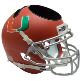 Miami Hurricanes Orange Schutt Mini Football Helmet Desk Caddy