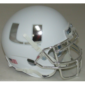 Miami Hurricanes White Chrome Mask Schutt XP Authentic Mini Football Helmet