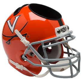 Virginia Cavaliers Orange w/Stripe Schutt Mini Football Helmet Desk Caddy