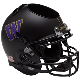 Washington Huskies Matte Black Schutt Mini Football Helmet Desk Caddy