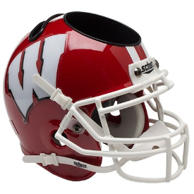 Wisconsin Badgers Red White Mask Schutt Mini Football Helmet Desk Caddy