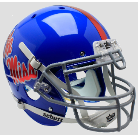 Mississippi (Ole Miss) Rebels Blue w/Chrome Decal Schutt XP Authentic Full Size Football Helmet
