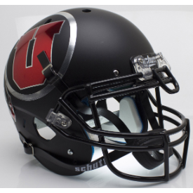 Utah Utes Matte Black Chrome Decal Schutt XP Authentic Full Size Football Helmet