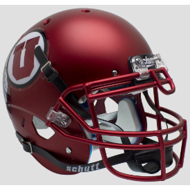 Utah Utes Satin Red Schutt XP Authentic Full Size Football Helmet