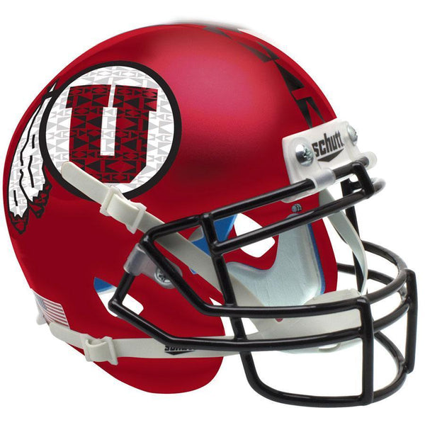 Utah Utes Satin Red Black Mask Schutt XP Authentic Full Size Football Helmet