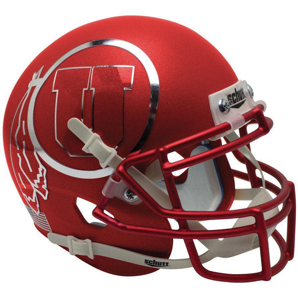 Utah Utes Satin Red w/Chrome Decal Schutt XP Authentic Full Size Football Helmet