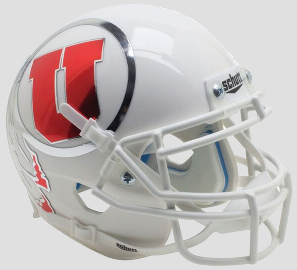 Utah Utes White Chrome Decal Schutt XP Authentic Full Size Football Helmet