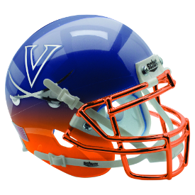 Virginia Cavaliers Navy Orange Featherhead w/Chrome Mask Schutt XP Authentic Full Size Football Helmet