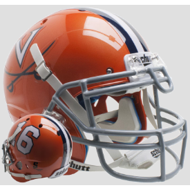 Virginia Cavaliers Orange 16 Schutt XP Authentic Full Size Football Helmet