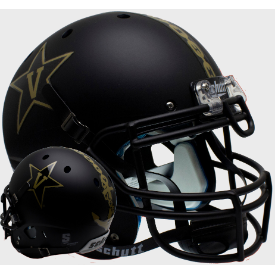 Vanderbilt Commodores Matte Black w/Anchor Schutt XP Authentic Full Size Football Helmet