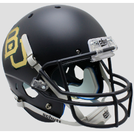 Baylor Bears Matte Anthracite Chrome Decal Schutt XP Replica Full Size Football Helmet