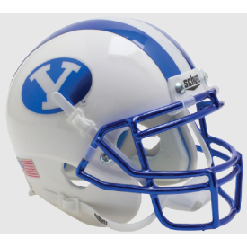 Brigham Young Cougars Chrome Blue Decal and Mask Schutt XP Replica Full Size Football Helmet