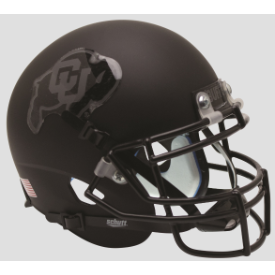 Colorado Buffaloes Matte Black Gray Outline Schutt XP Replica Full Size Football Helmet
